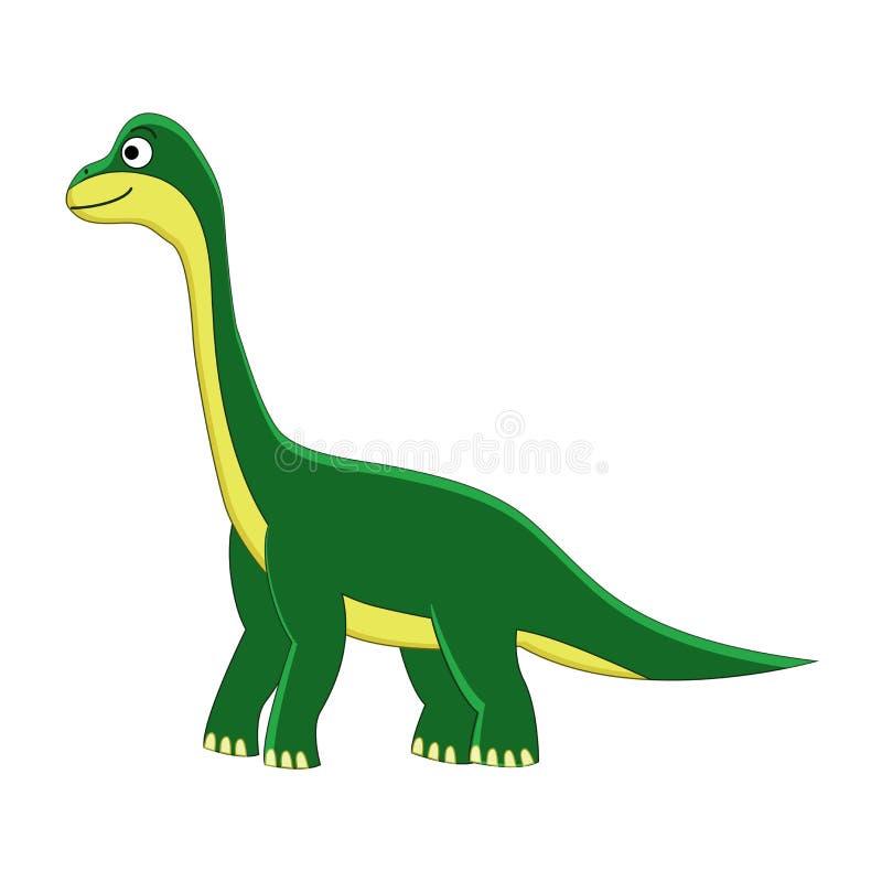 Gullig tecknad filmbrachiosaurus isolerad white för tecknad film dinosaur Vektorillustrati stock illustrationer