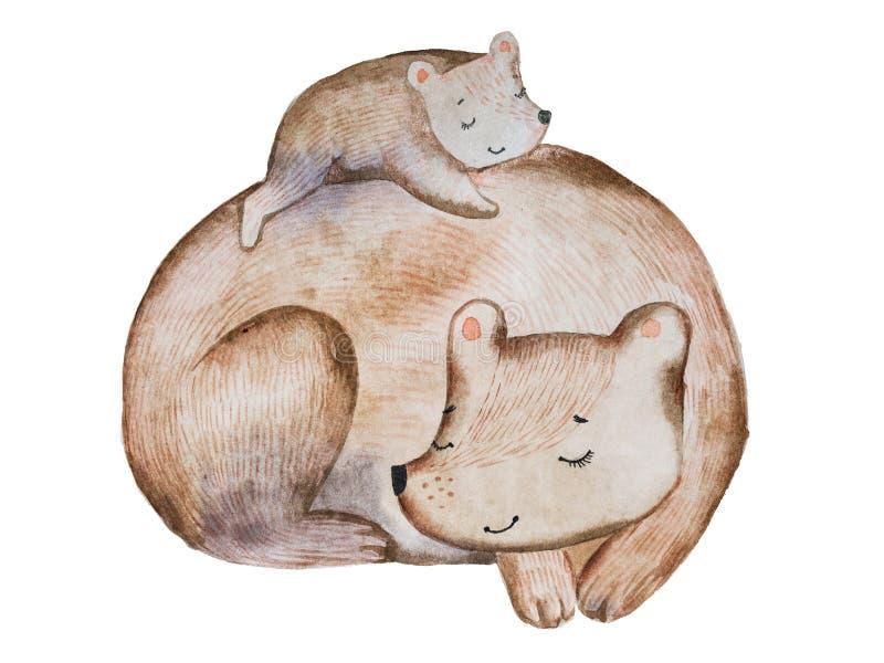 Gullig tecknad filmbrunbjörn och liten gröngöling som lägger på dess baksida som sover tillsammans dragit med vattenfärgteknik vektor illustrationer