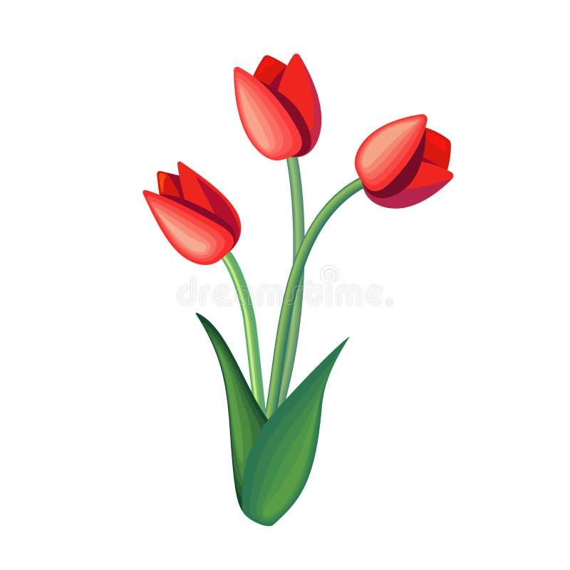Gullig tecknad filmbukett av tulpan f?r h?lsningkort, garnering eller illustrationen f?r vektor f?r gemkonst, blom- romantisk sym vektor illustrationer