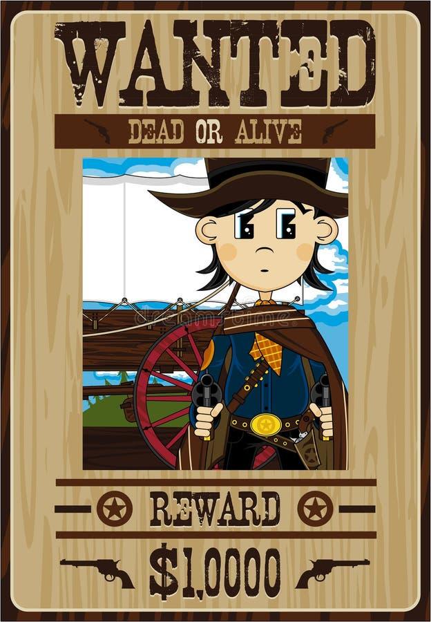 Gullig tecknad filmcowboy Poster royaltyfri illustrationer