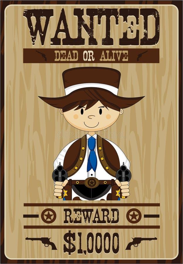 Gullig tecknad filmcowboy Poster stock illustrationer