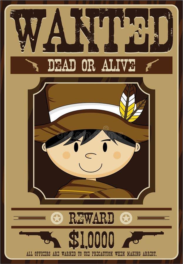 Gullig tecknad filmcowboy Wanted Poster vektor illustrationer