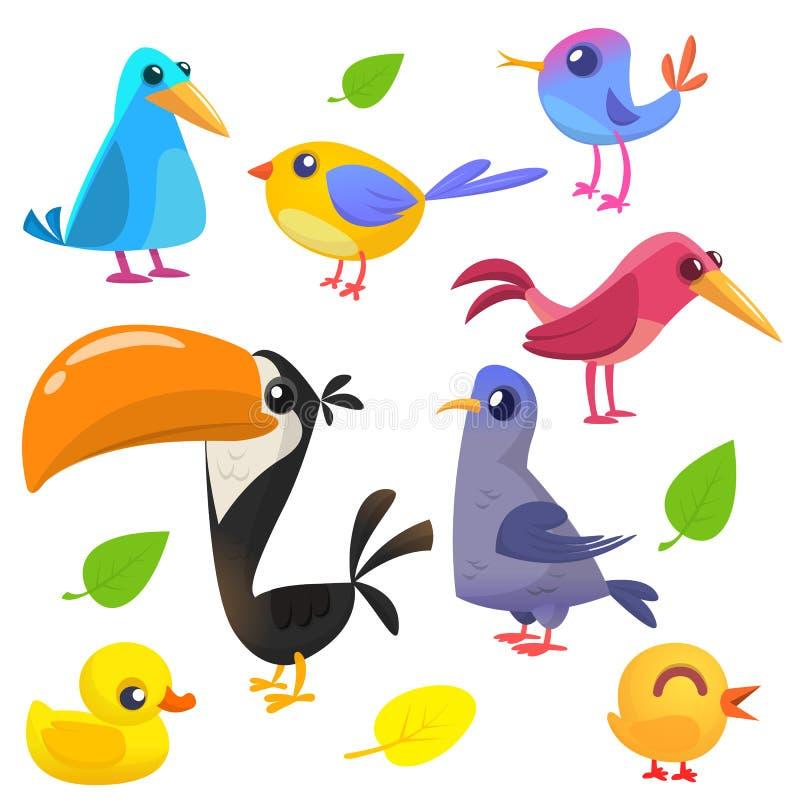 Gullig tecknad filmfågelsamling Tecknad filmuppsättning av färgrika fåglar också vektor för coreldrawillustration stock illustrationer
