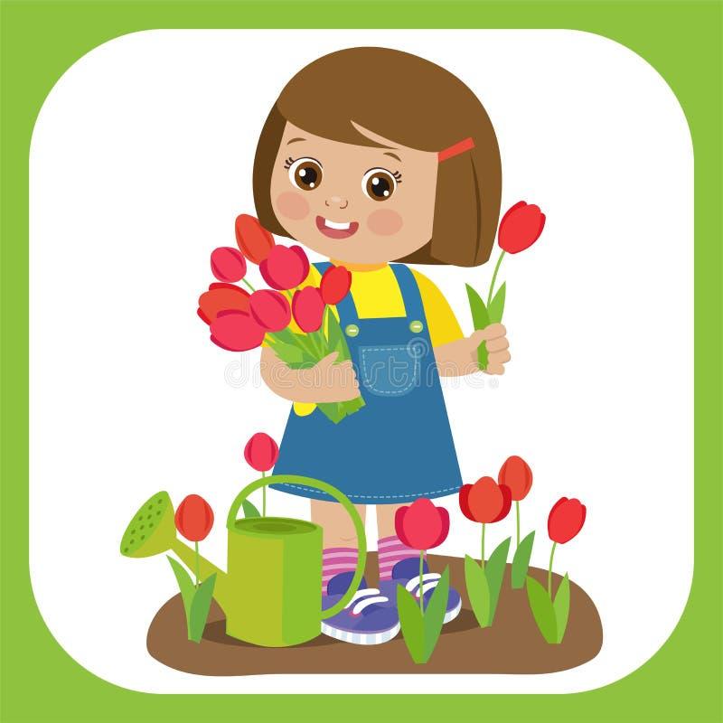 Gullig tecknad filmflicka med blommabukettvektorn Ung bonde Girl With Tulip Bouquet In The Garden stock illustrationer