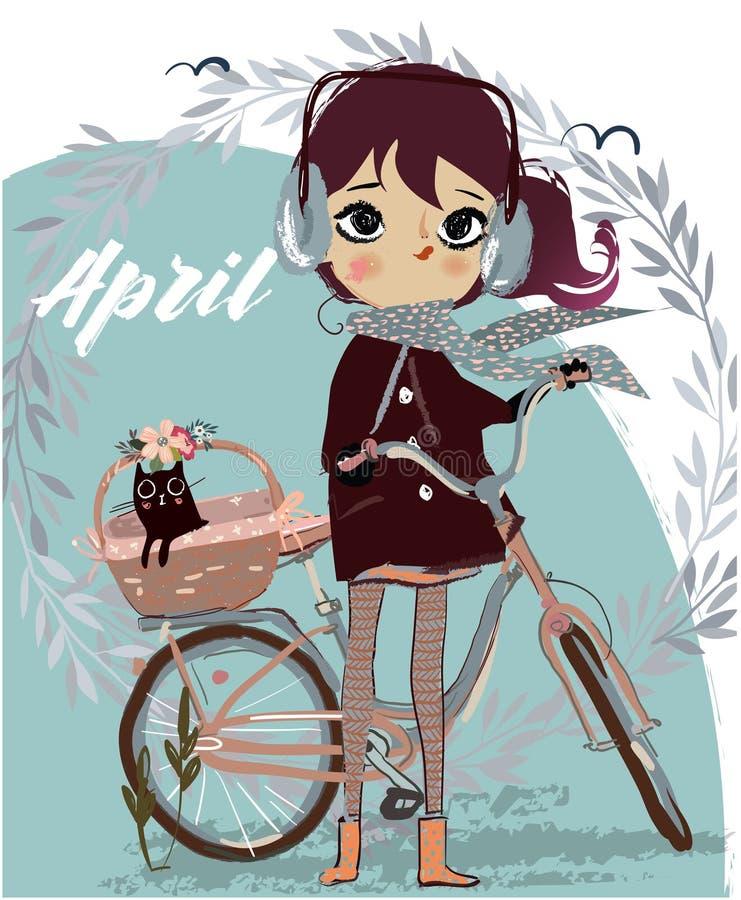Gullig tecknad filmflicka med cykeln och kattungen royaltyfri illustrationer