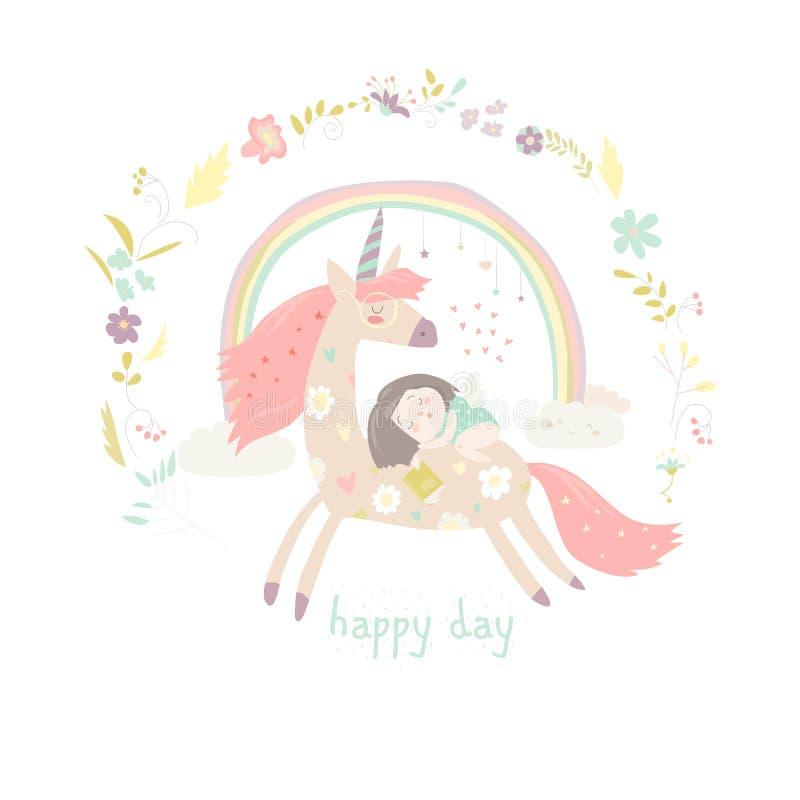 Gullig tecknad filmflicka med enhörningen royaltyfri illustrationer
