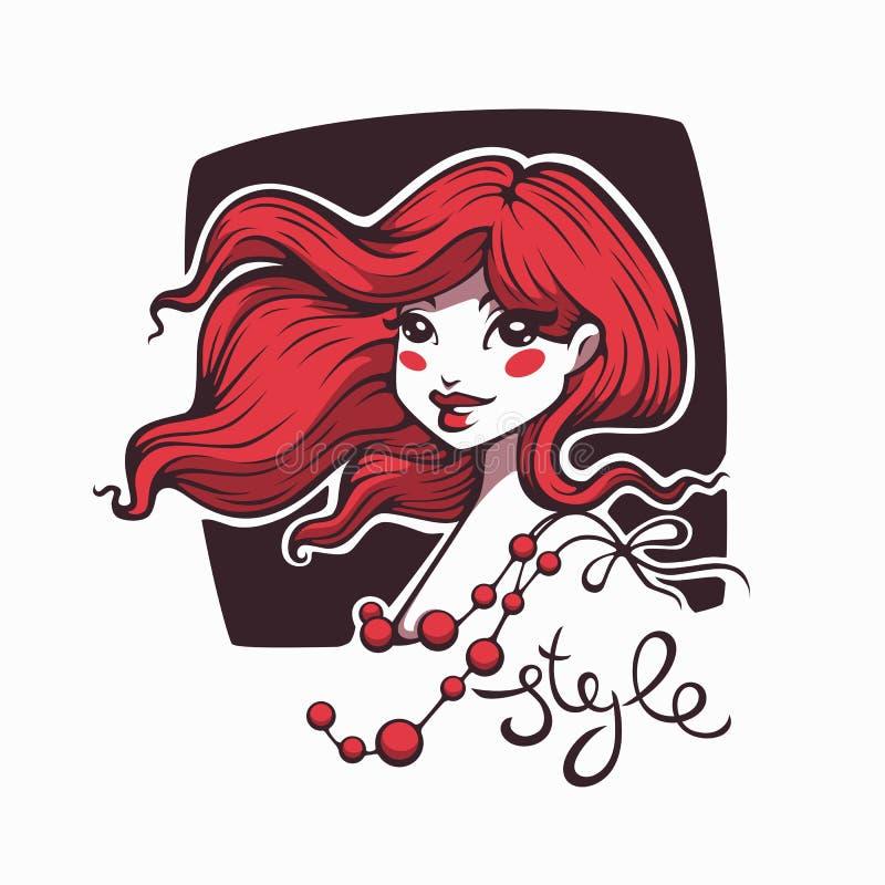 Gullig tecknad filmflicka med rött hår och stilbokstäver för din lo royaltyfri illustrationer