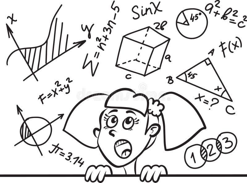 Gullig tecknad filmflicka och matematik och geometriformler och problem på den svart tavlan utbildningsvektorillustration royaltyfri illustrationer