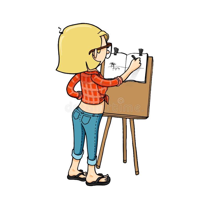 Gullig tecknad filmflicka som skissar med staffli och sketchbooken Vektor isolerat hand dragit tecken stock illustrationer