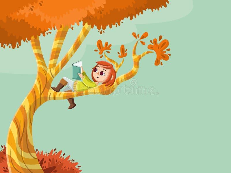 Gullig tecknad filmflickaläsebok över ett träd royaltyfri illustrationer
