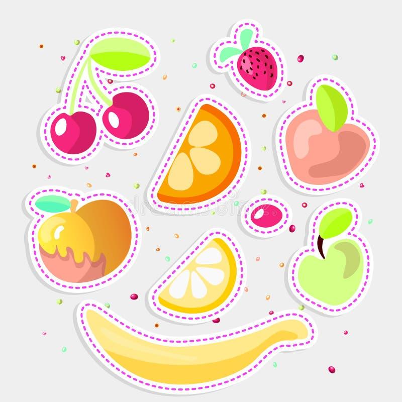 Gullig tecknad filmfruktsamling Söta frukter symbol, sommarfruktefterrätter som isoleras på vit bakgrund Körsbärsrött orange vektor illustrationer