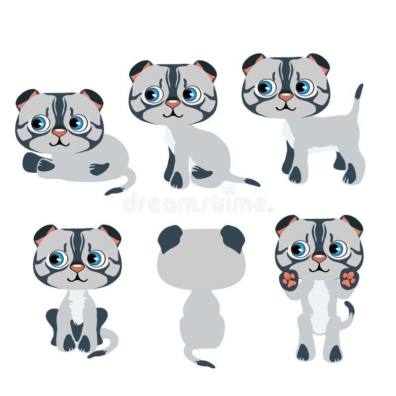 Gullig tecknad filmgrå färgkattunge för animering, husdjur royaltyfri illustrationer