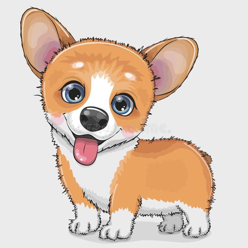 Gullig tecknad filmhundCorgi stock illustrationer