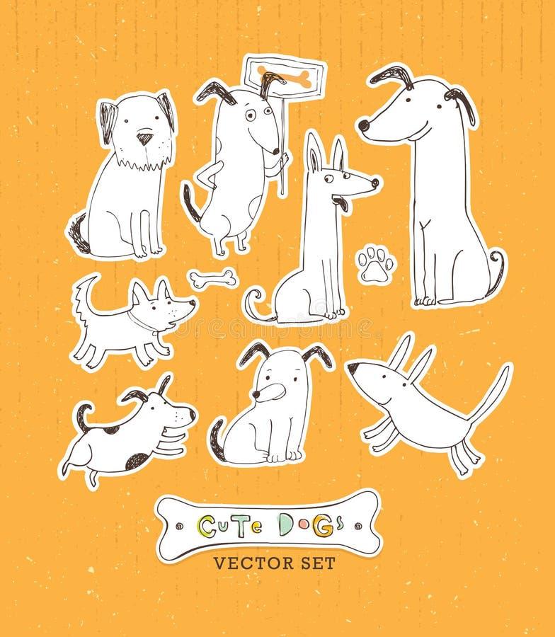 Gullig tecknad filmhunduppsättning Hand dragen klottervektorillustration stock illustrationer