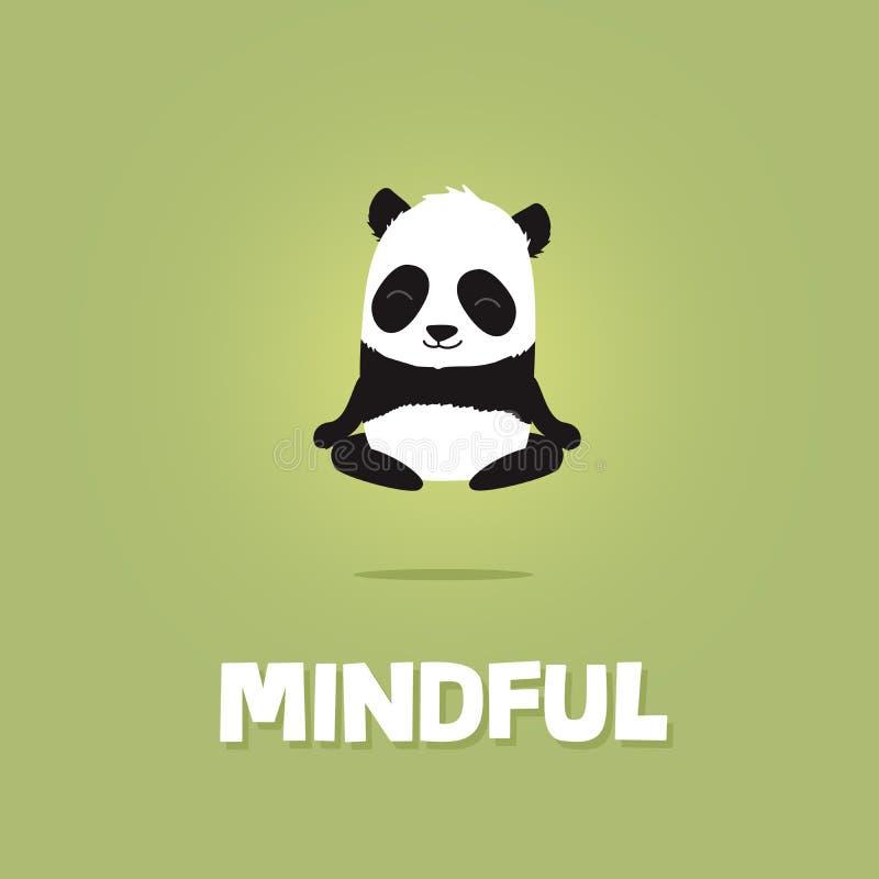 Gullig tecknad filmillustration av pandan som mediterar och får att sväva stock illustrationer