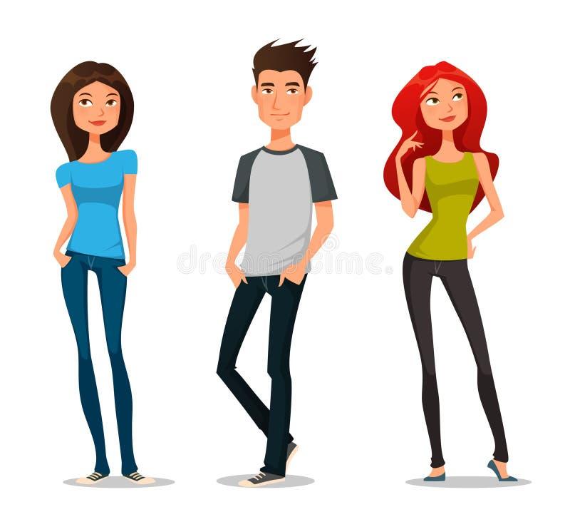 Gullig tecknad filmillustration av ungdomar vektor illustrationer
