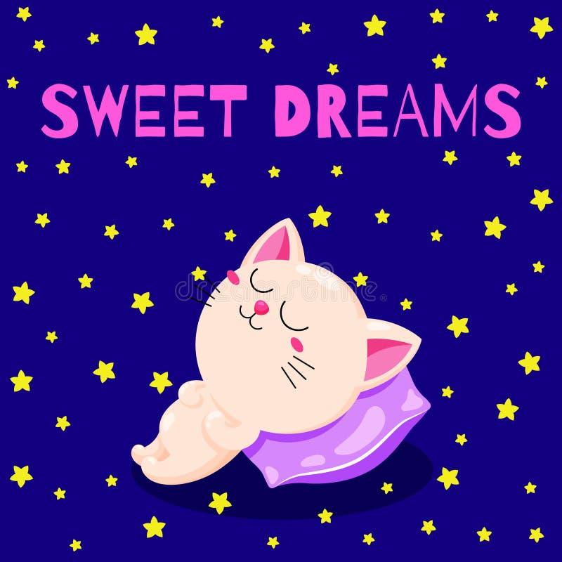 Gullig tecknad filmillustration med en sova kattunge Vektorklotterkort Rolig sova katt Mall för tryck royaltyfri illustrationer