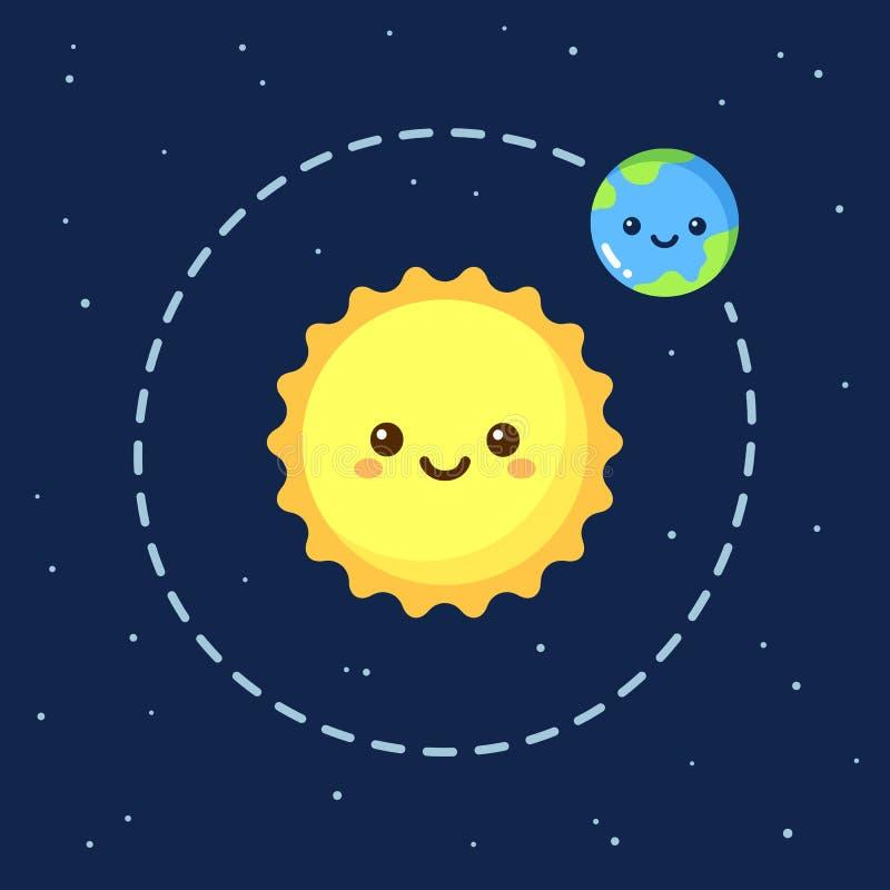 Gullig tecknad filmjord och sol stock illustrationer