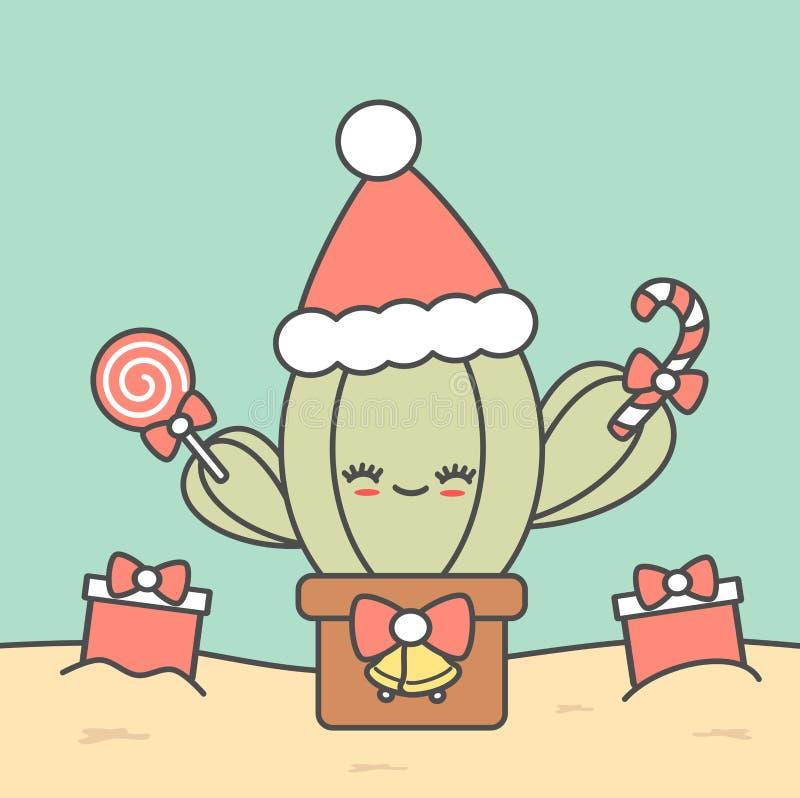 Gullig tecknad filmjulkaktus med den roliga ferieillustrationen för gåvor stock illustrationer