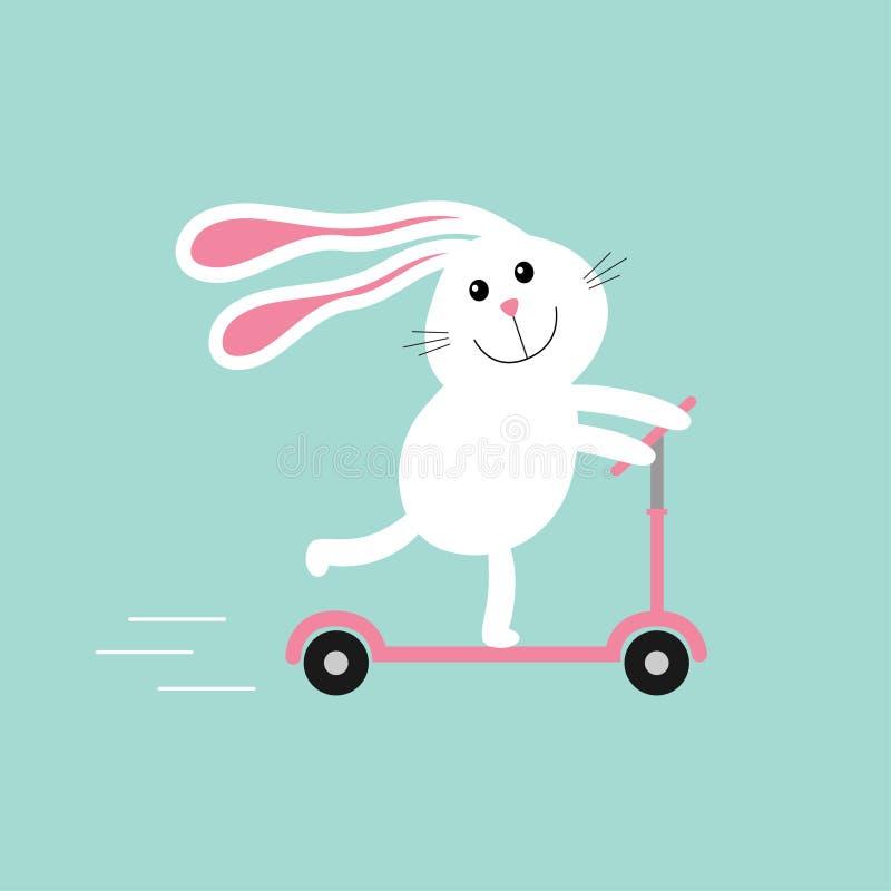 Gullig tecknad filmkaninhare som rider en sparksparkcykel Hastighetslinje behandla som ett barn text för bakgrundskopieringsavstå stock illustrationer