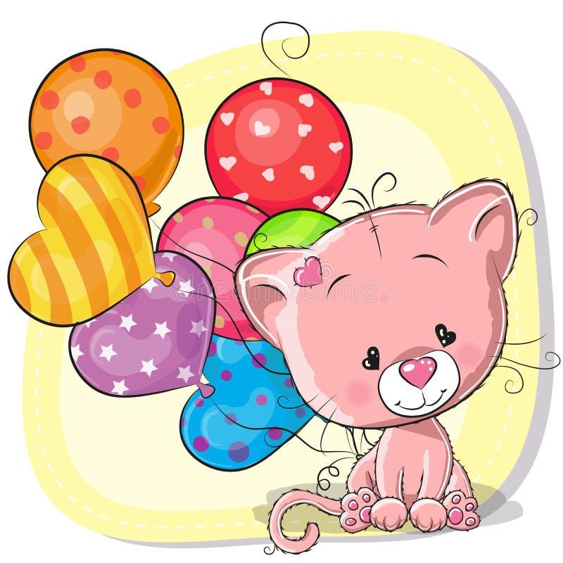 Gullig tecknad filmkattunge med ballonger stock illustrationer