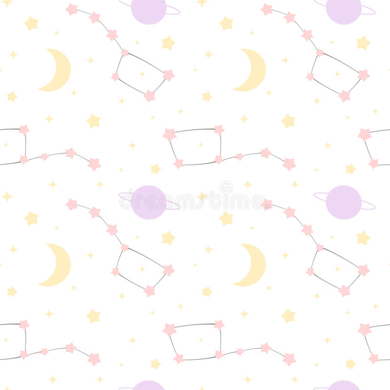 Gullig tecknad filmkonstellation med stjärnor och för modellbakgrund för måne och för planet den sömlösa illustrationen vektor illustrationer