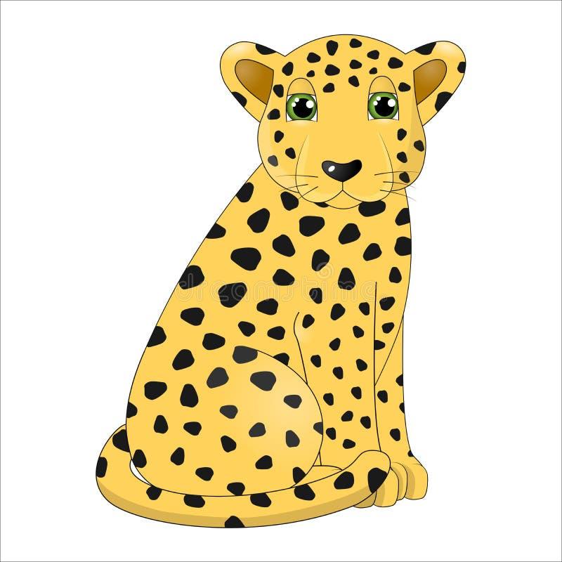 Gullig tecknad filmleopard royaltyfri fotografi