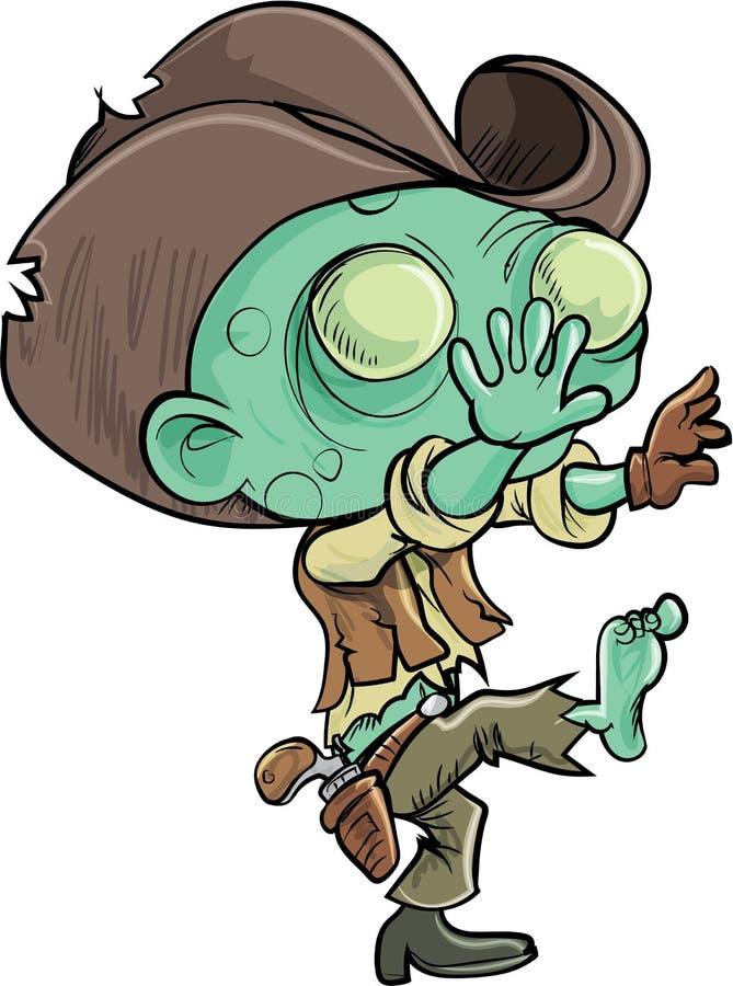 Gullig tecknad filmlevande dödcowboy royaltyfri illustrationer