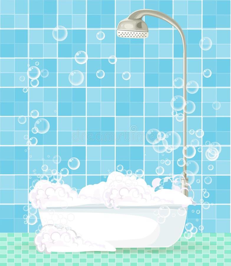 Gullig tecknad filmmall med badruminre på blåa tegelplattor royaltyfri illustrationer