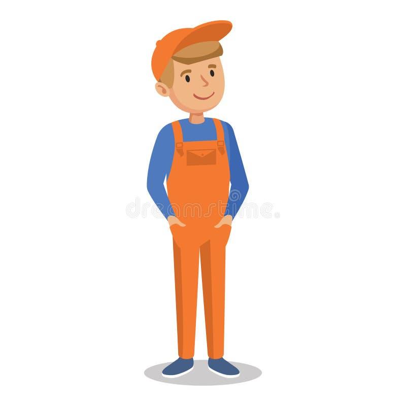 Gullig tecknad filmmekanikerpojke i en orange jumpsuit royaltyfri illustrationer