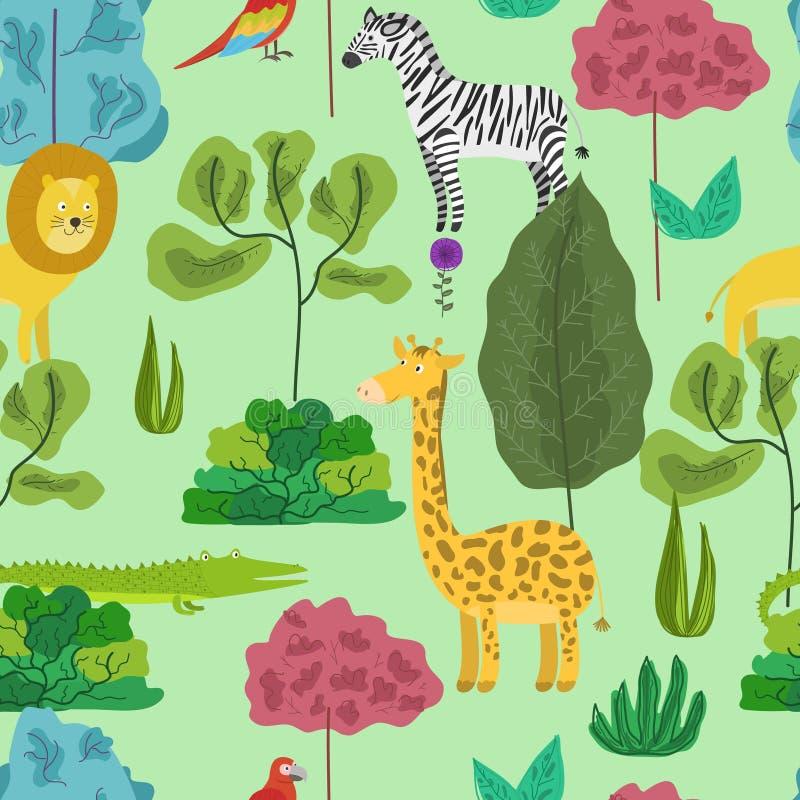 Gullig tecknad filmmodell med djungeldjur i skog royaltyfri illustrationer