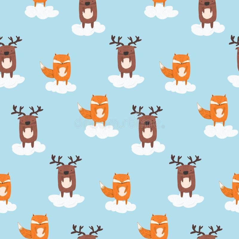 Gullig tecknad filmmodell med hjortar och räven i moln stock illustrationer