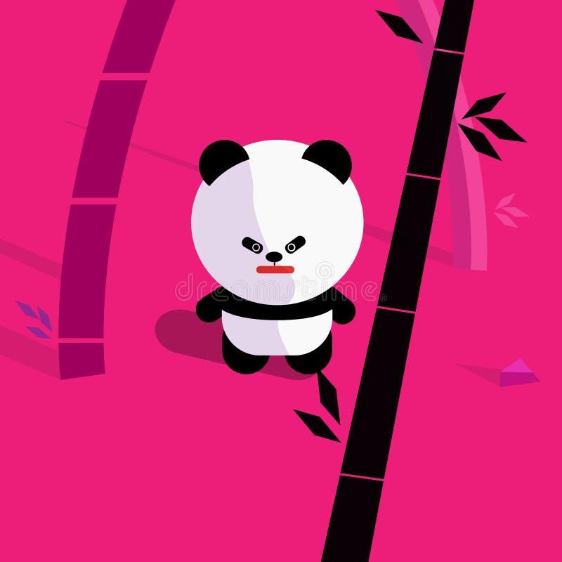 gullig tecknad filmpanda i bambuskogvektor vektor illustrationer