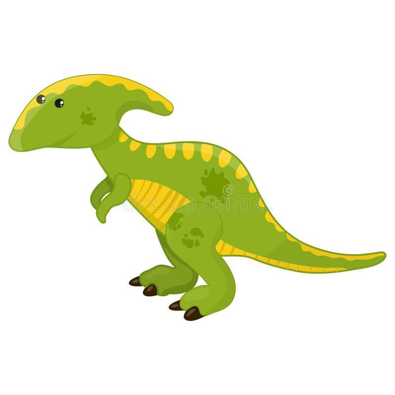 Gullig tecknad filmparasaurolophusdinosaurie, förhistorisk illustration för dino teckenvektor på en vit bakgrund stock illustrationer