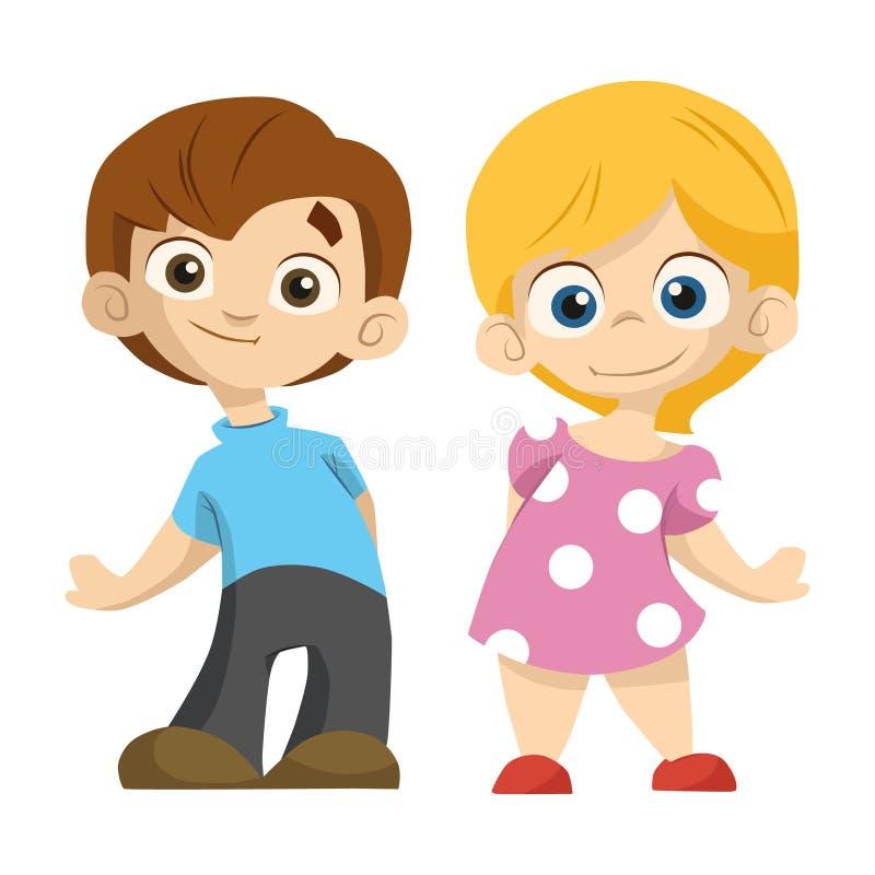 Gullig tecknad filmparpojke och flickaställning och leende till dig vektor illustrationer