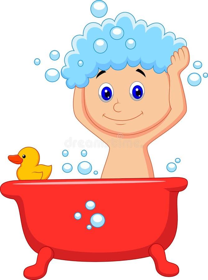 Gullig tecknad filmpojke som har badet stock illustrationer