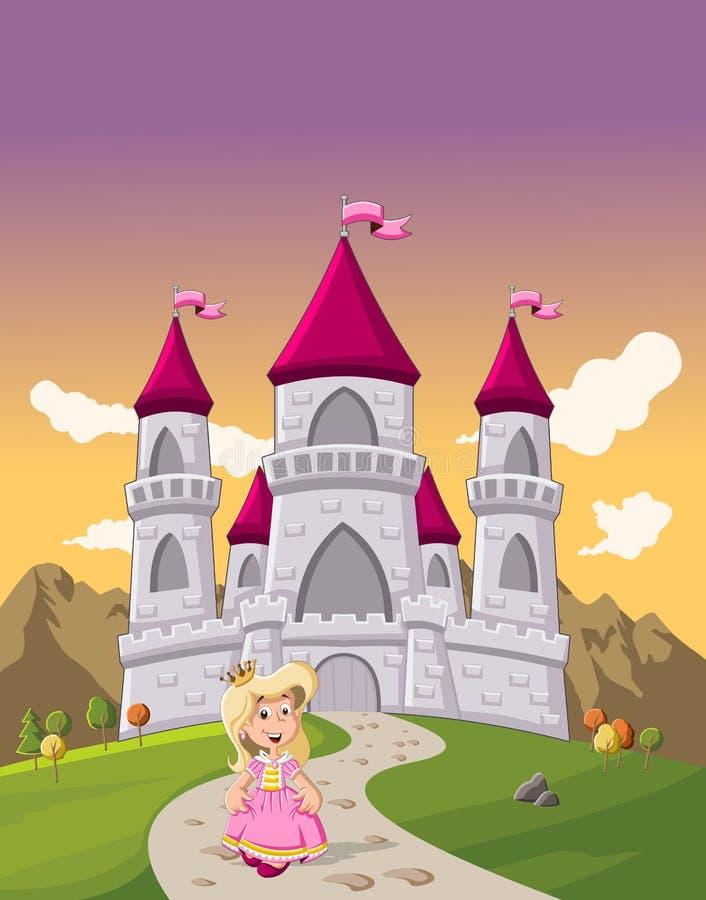 Gullig tecknad filmprinsessaflicka framme av en slott stock illustrationer