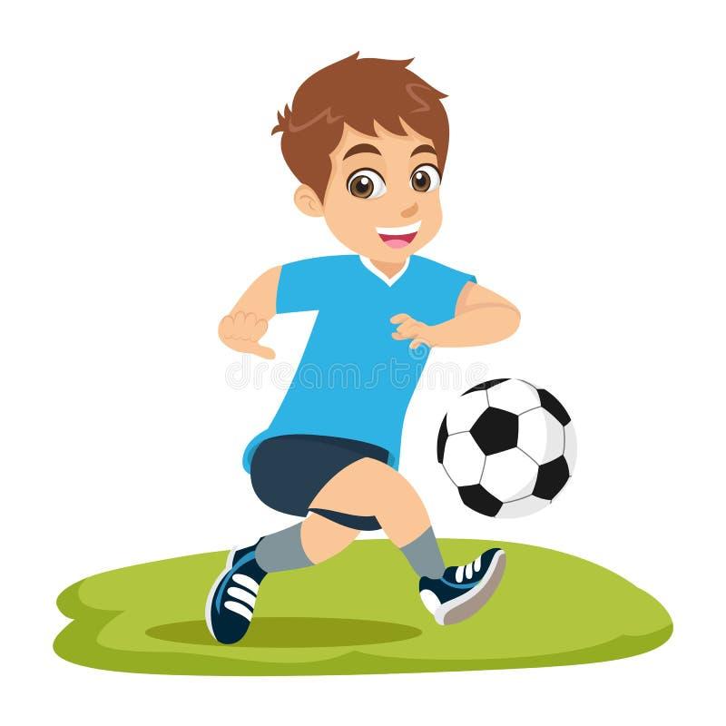 Gullig tecknad filmpys som spelar fotboll eller fotboll stock illustrationer