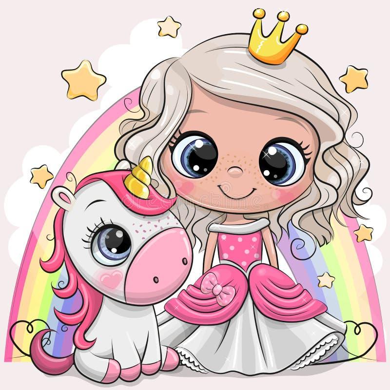 Gullig tecknad filmsagaprinsessa och enh?rning royaltyfri illustrationer