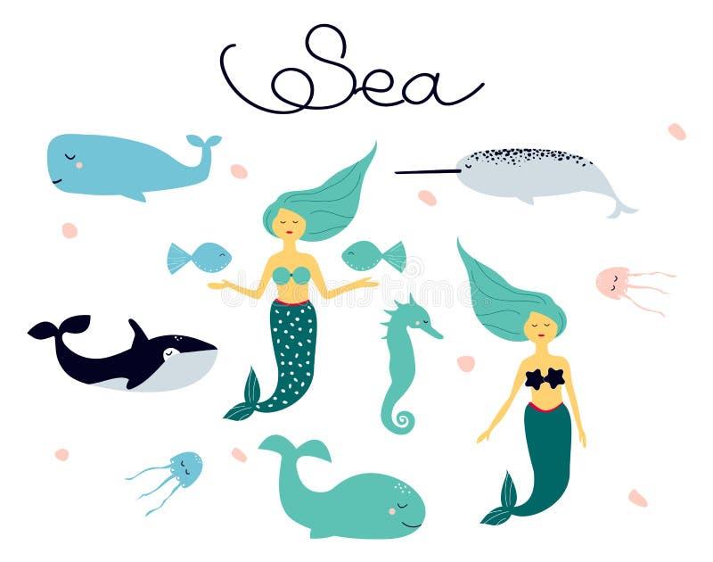 Gullig tecknad filmsamling av vektorteckningar på temat av havsdjur - sjöjungfru; havshäst; späckhuggaren, narval, manet stock illustrationer