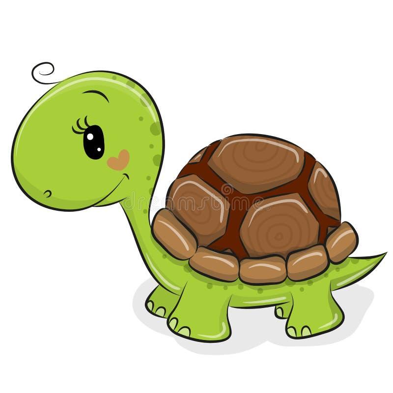 Gullig tecknad filmsköldpadda på en vit bakgrund royaltyfri illustrationer
