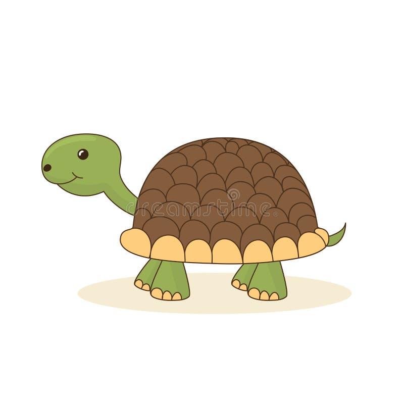 Gullig tecknad filmsköldpadda som isoleras på vit bakgrund royaltyfri illustrationer