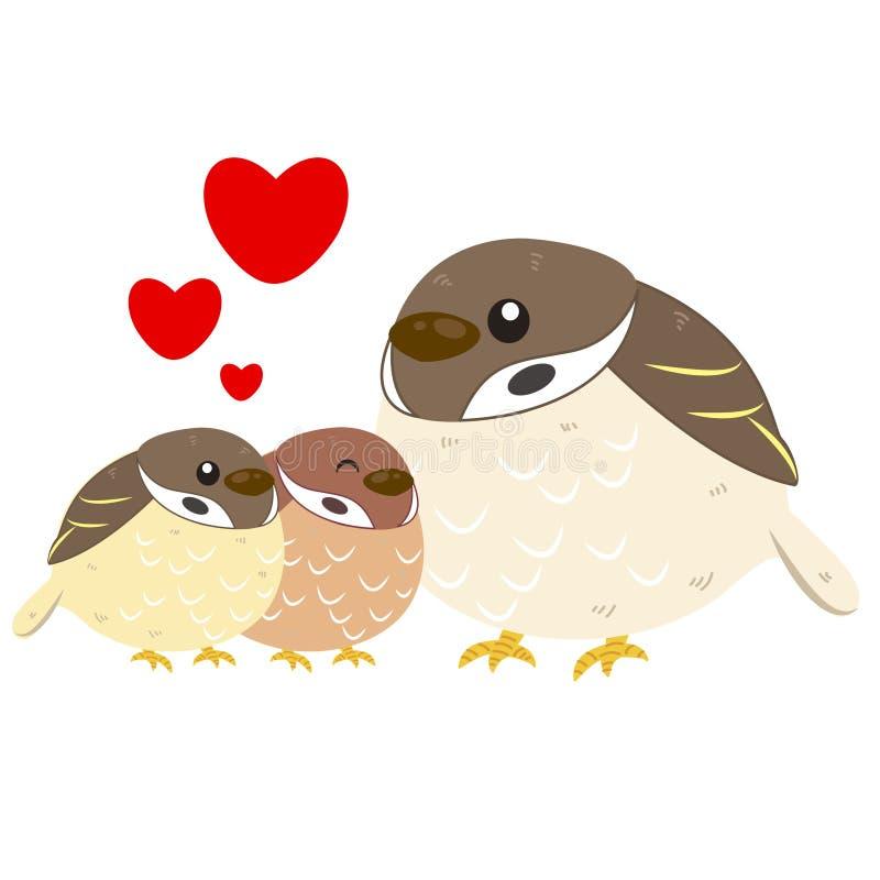 Gullig sparrowfamilj royaltyfri illustrationer