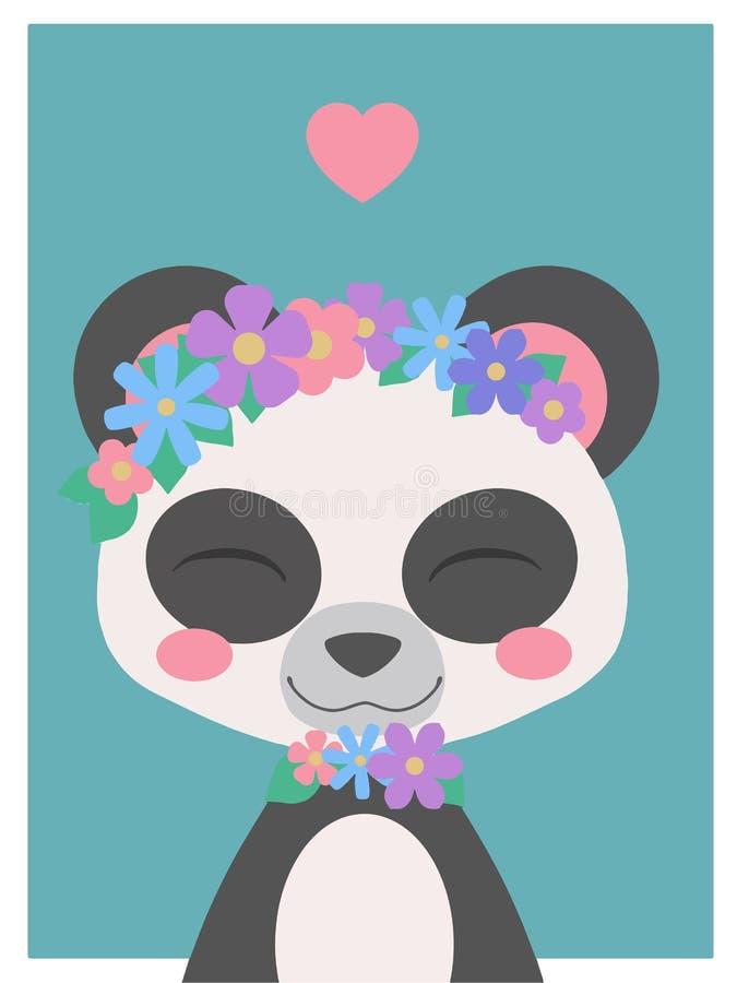 Gullig tecknad filmstil som ler björnen för jätte- panda med blommahuvudbindeln och hjärta, vektorteckning royaltyfri illustrationer