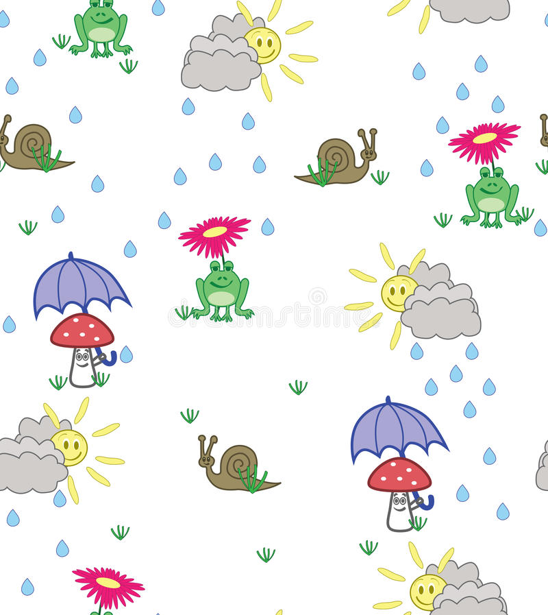 Gullig tecknad filmstilbakgrund av grodor, sniglar och champinjoner royaltyfri illustrationer