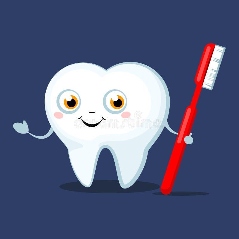 Gullig tecknad filmtand med en tandborste som ler stock illustrationer