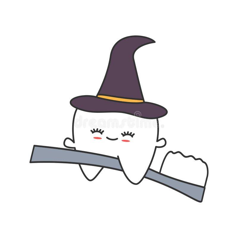 Gullig tecknad filmtand med häxahattflyg på för halloween för tandborste rolig illustration vektor royaltyfri illustrationer