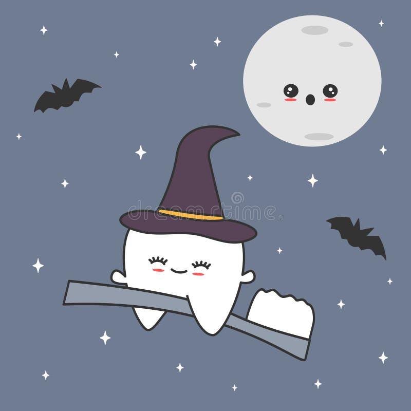 Gullig tecknad filmtand med häxahattflyg på tandborsten i för halloween för stjärnklar natt den roliga illustrationen vektor vektor illustrationer