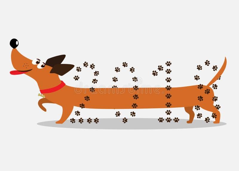 Gullig tecknad filmtaxhund som går till och med numret 2018 vektor illustrationer