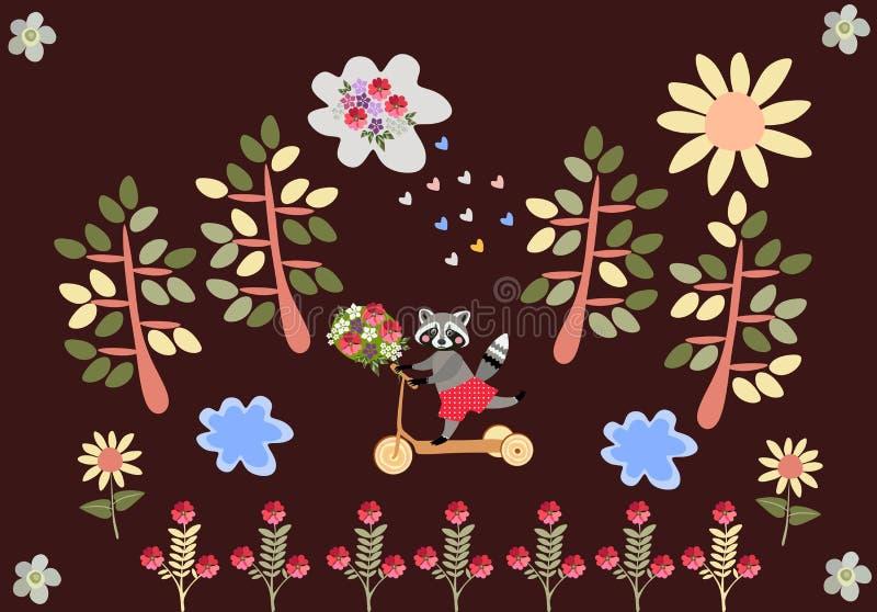 Gullig tecknad filmtvättbjörn som rider en sparkcykel med en bukett av blommor vektor illustrationer
